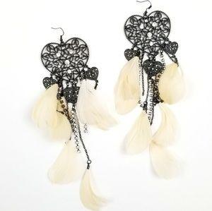 BEBE Heart Feather Long Rhinestone Drop Earrings